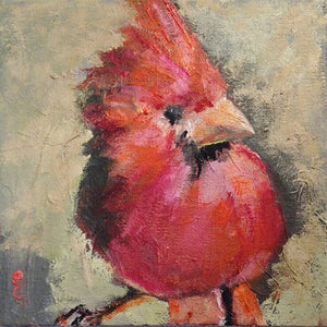 "Cardinal oil painting, 6"" x 6"" on canvas board."