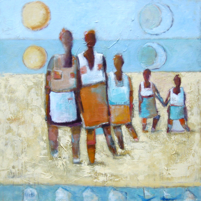 Abstract figurative art, women on the beach