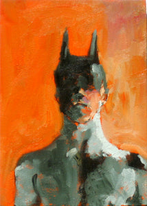 "Batman Portrait, 5"" x 7"", Oil on Cradled Panel"