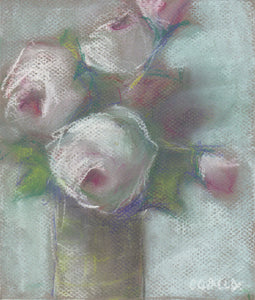 Soft floral pastel drawing with pink, green and white colors.