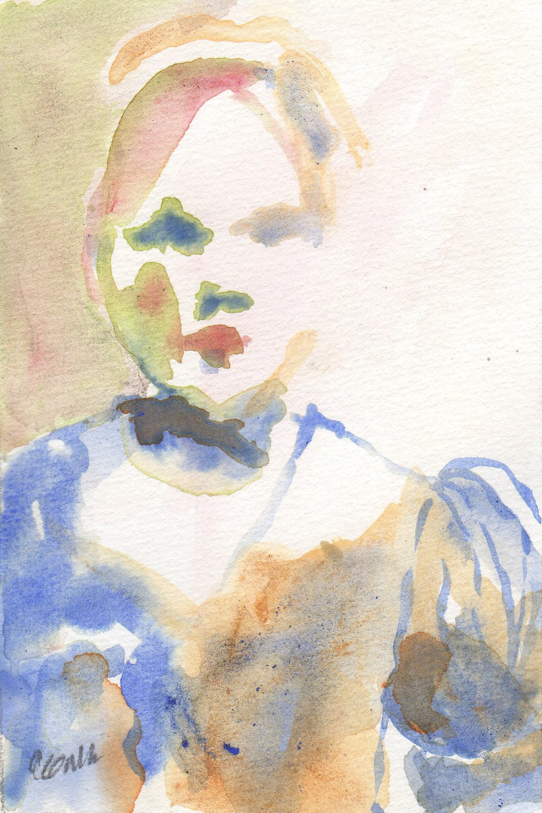 Female figure in watercolor and ink in blue and orange colors.