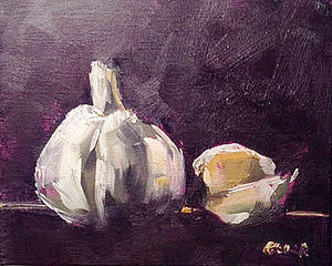 Garlic painting in oil on canvas, 8