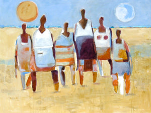 Six abstract figures on the beach.