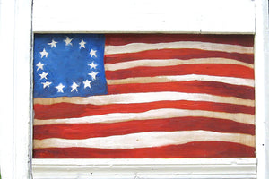 Betsy Ross flag painted on wood with re-purposed frame.