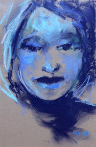 Blue and turquoise colored pastel portrait.