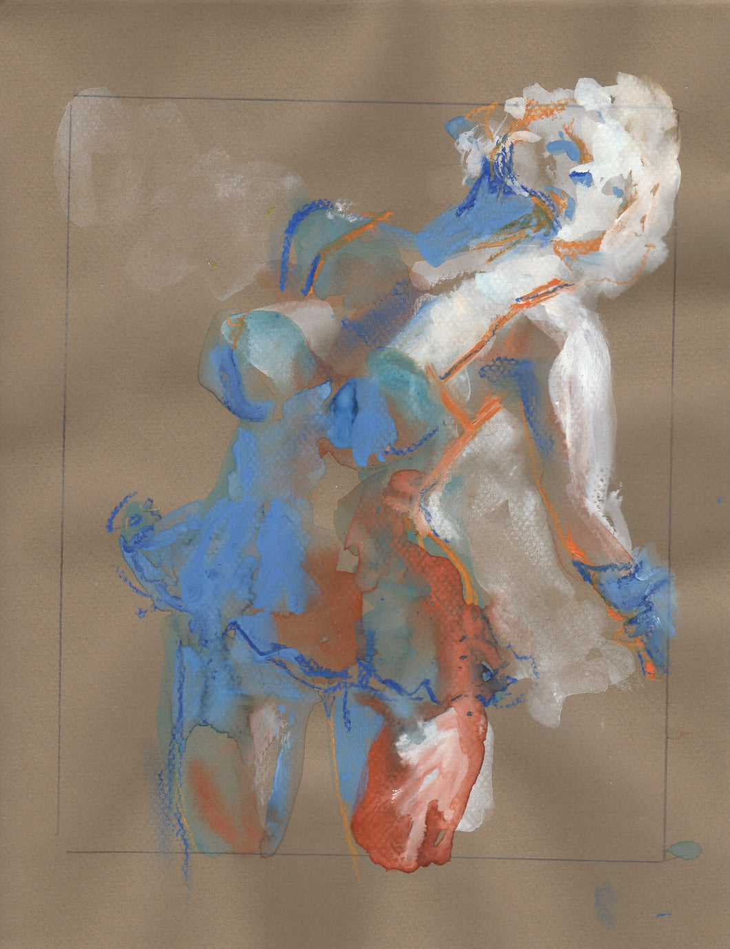 Dancing woman on pastel paper, painted in white, blue and orange.