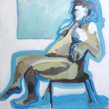 Load image into Gallery viewer, Blue Nude Seated, Original Acrylic Art by Corinne Galla