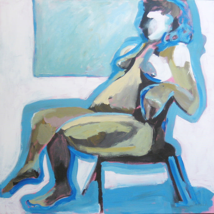 Blue Nude Seated, Original Acrylic Art by Corinne Galla