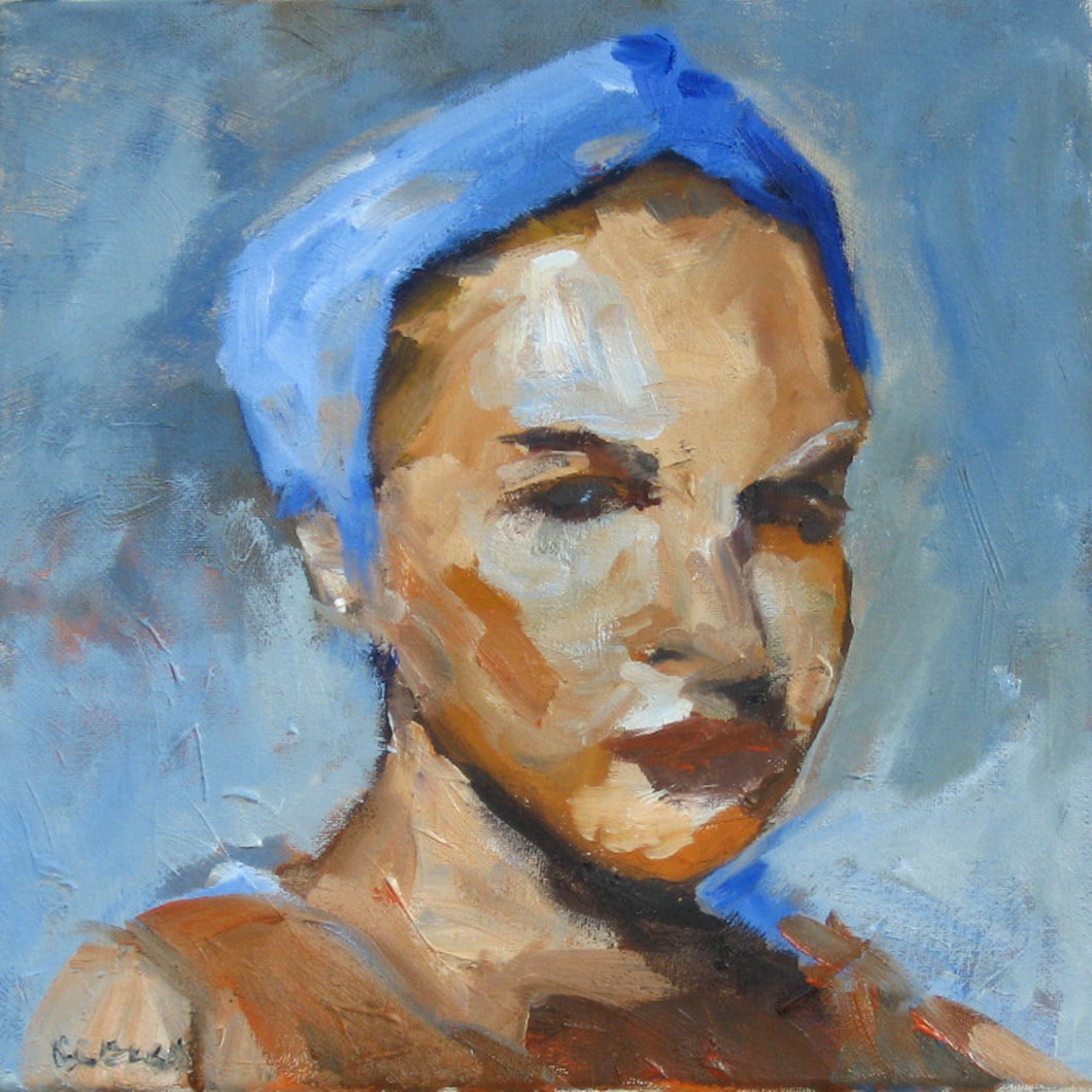 Portrait of a woman in a blue turban.