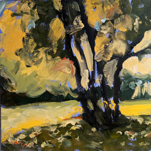Landscape and Tree in black, yellow and blue colors by Corinne Galla