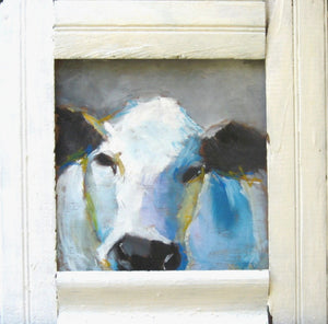 White and blue cow on wood with barn wood frame by Corinne Galla