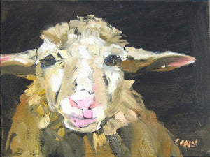 Sheep in oil paint by Corinne Galla