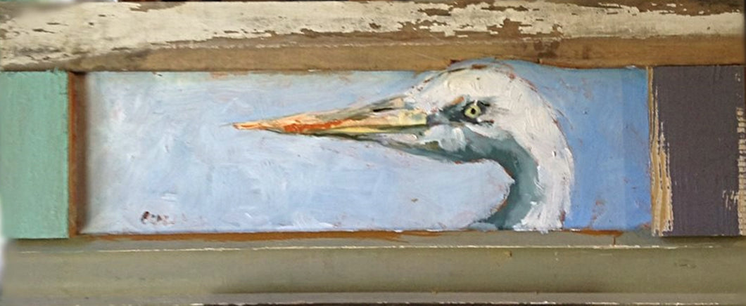 Blue and white heron on wood panel with barn wood frame.