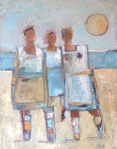 Three abstract figures on a beach.