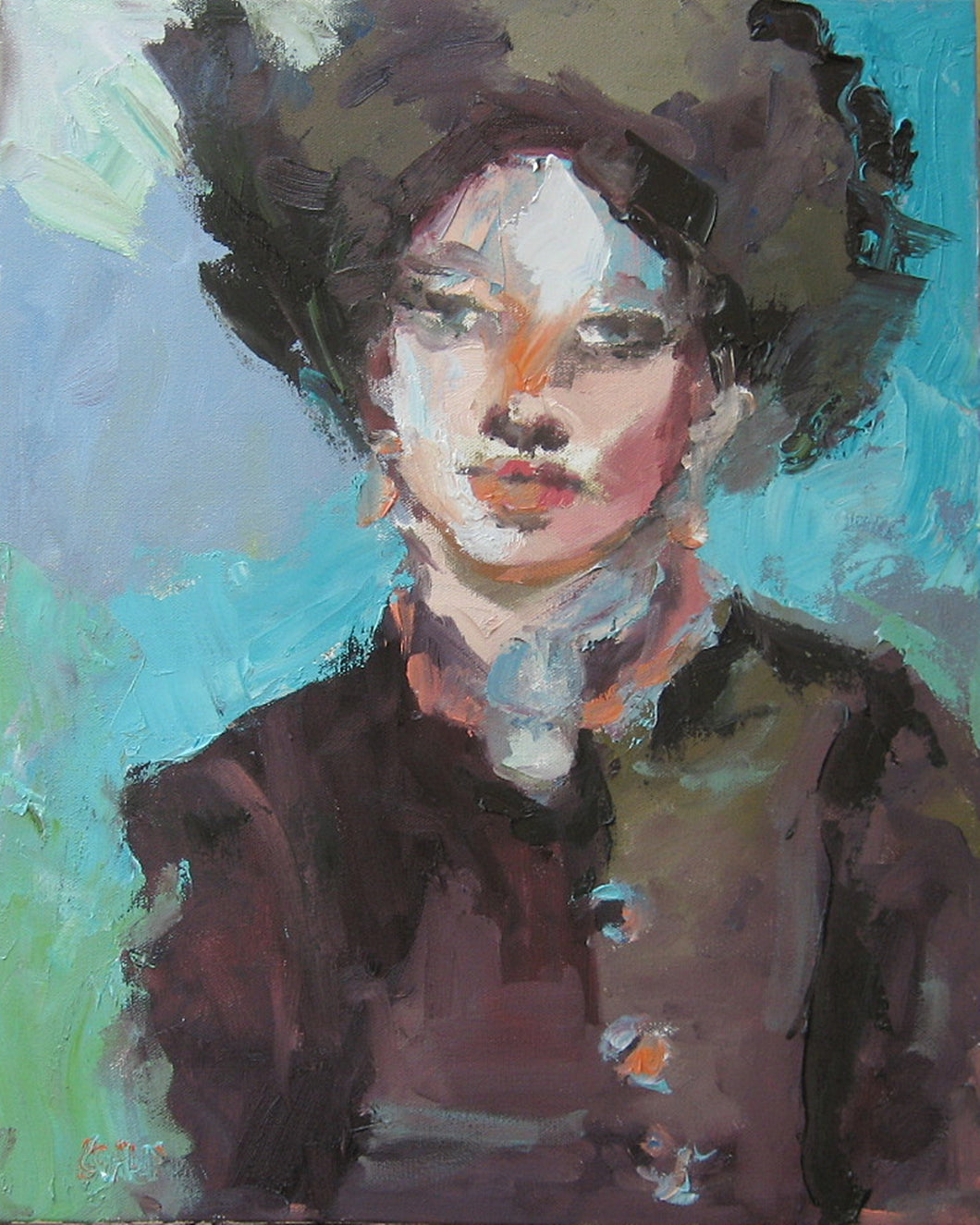 Fur Hat, Original Oil Portrait by Corinne Galla
