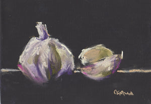 Garlic still life in pastel on pastel paper.