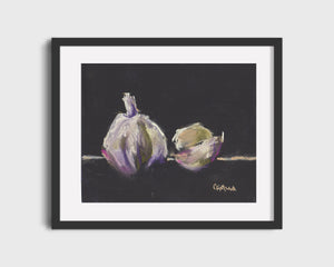 Framed example of garlic still life on pastel paper.