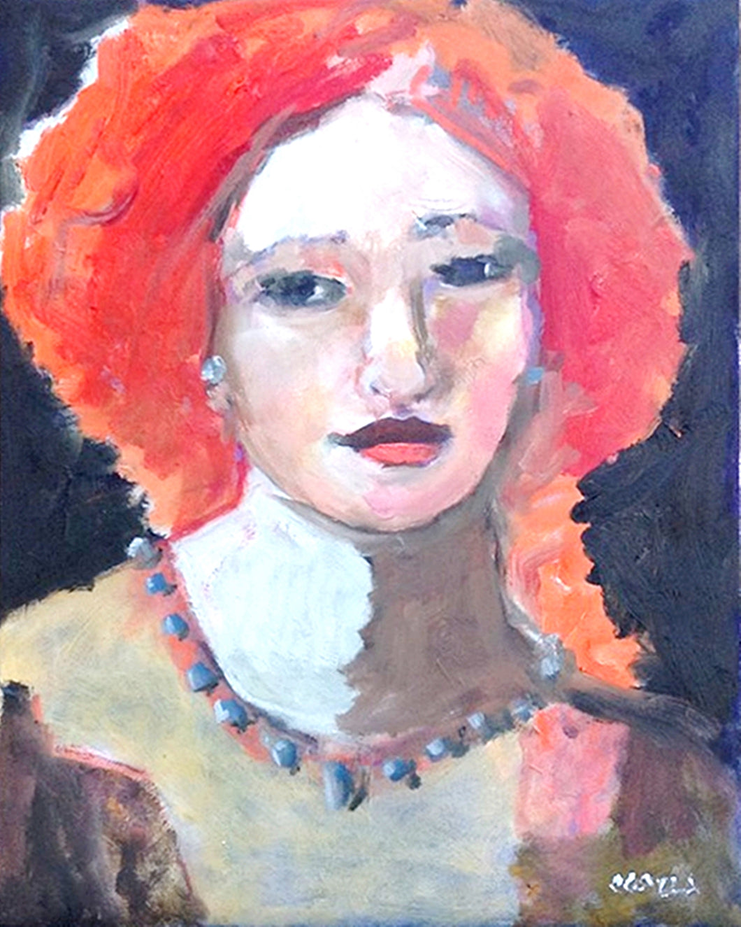 Oil portrait of a red haired woman.