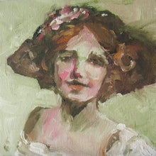 "Load image into Gallery viewer, ""Happy in Her New Hat,"" Small Oil Portrait by Corinne Galla"