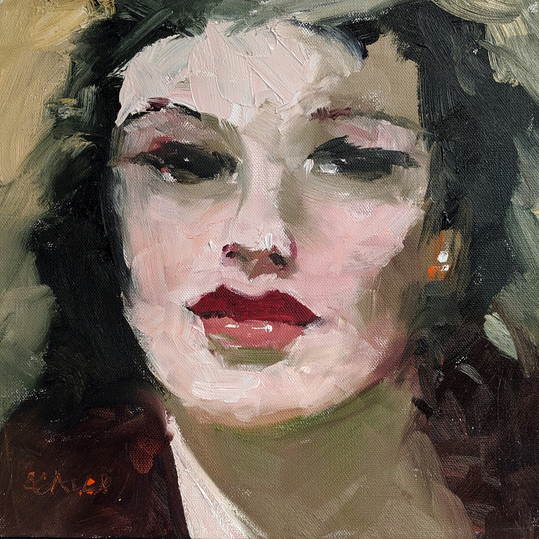 Oil portrait of a dark haired woman with a diamond earring.