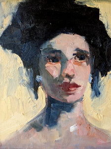 Dark haired woman, painted in oil in loose, impasto strokes by Corinne Galla