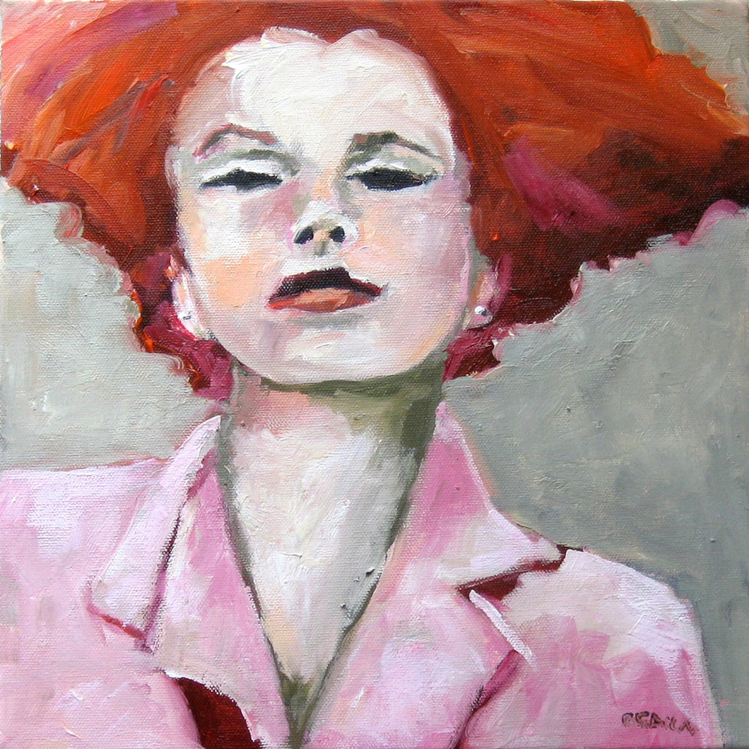 Red head in a pink suit, oil on canvas by Corinne Galla