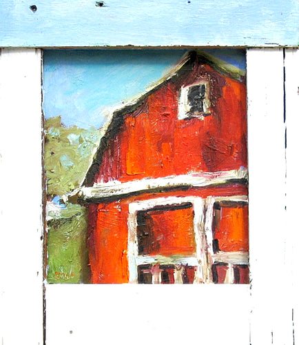 Rustic barn oil painting by Corinne Galla