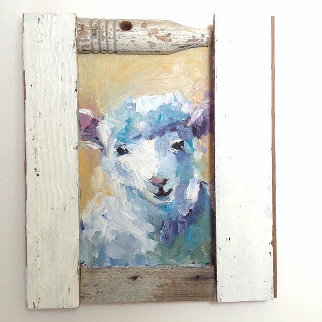 Sheep oil painting on wood.