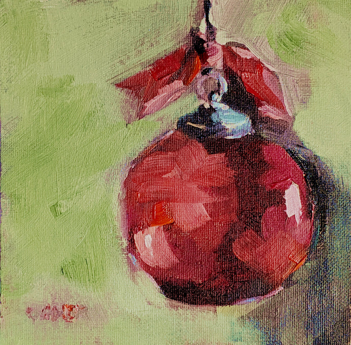 Red Christmas ball in oil on canvas panel.