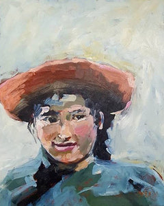 "Girl in a red hat, oil painting, 16"" x 20""."