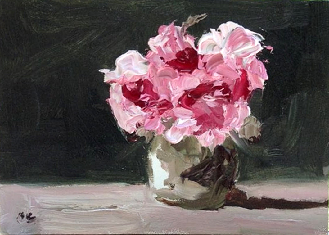Oil painting of pink flowers in a vase.