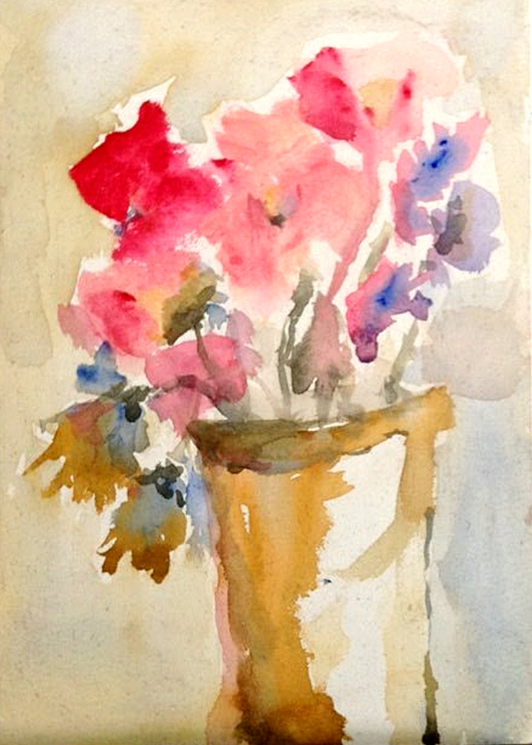 Floral still life in gouache on textured panel.