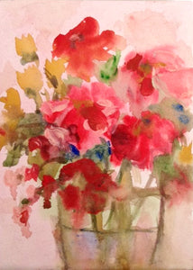 Red flower still life in gouache paint, 5