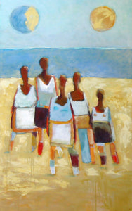 Beach ladies out in the sun, abstract figurative yellow and blue wall art