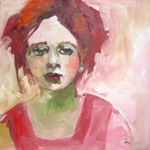 "Oil painting of a redhaired woman, 12"" x 12""."