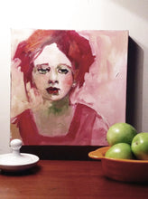 "Load image into Gallery viewer, ""Sophie,"" painting of a red head in situ."
