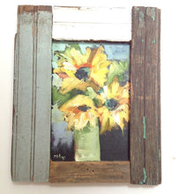 Load image into Gallery viewer, Abstract sunflowers in oil on a wood panel with a barn wood frame.