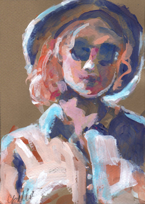 Gouache portrait of a woman in sunglasses and garden hat.