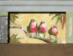 Three birds painted on wood panel.