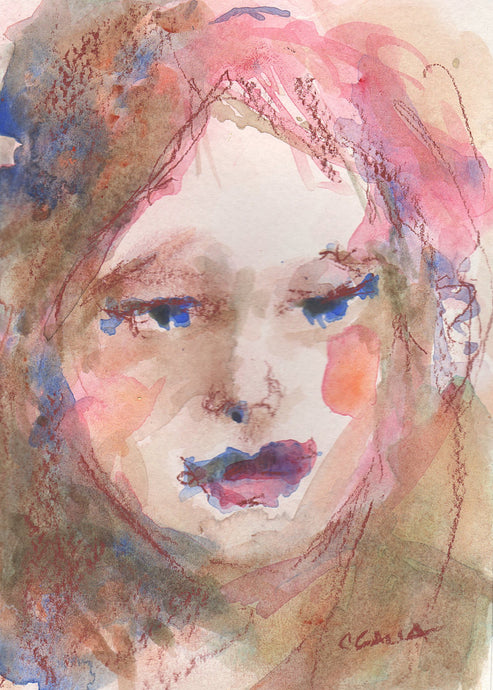 Watercolor portrait of a red head woman.