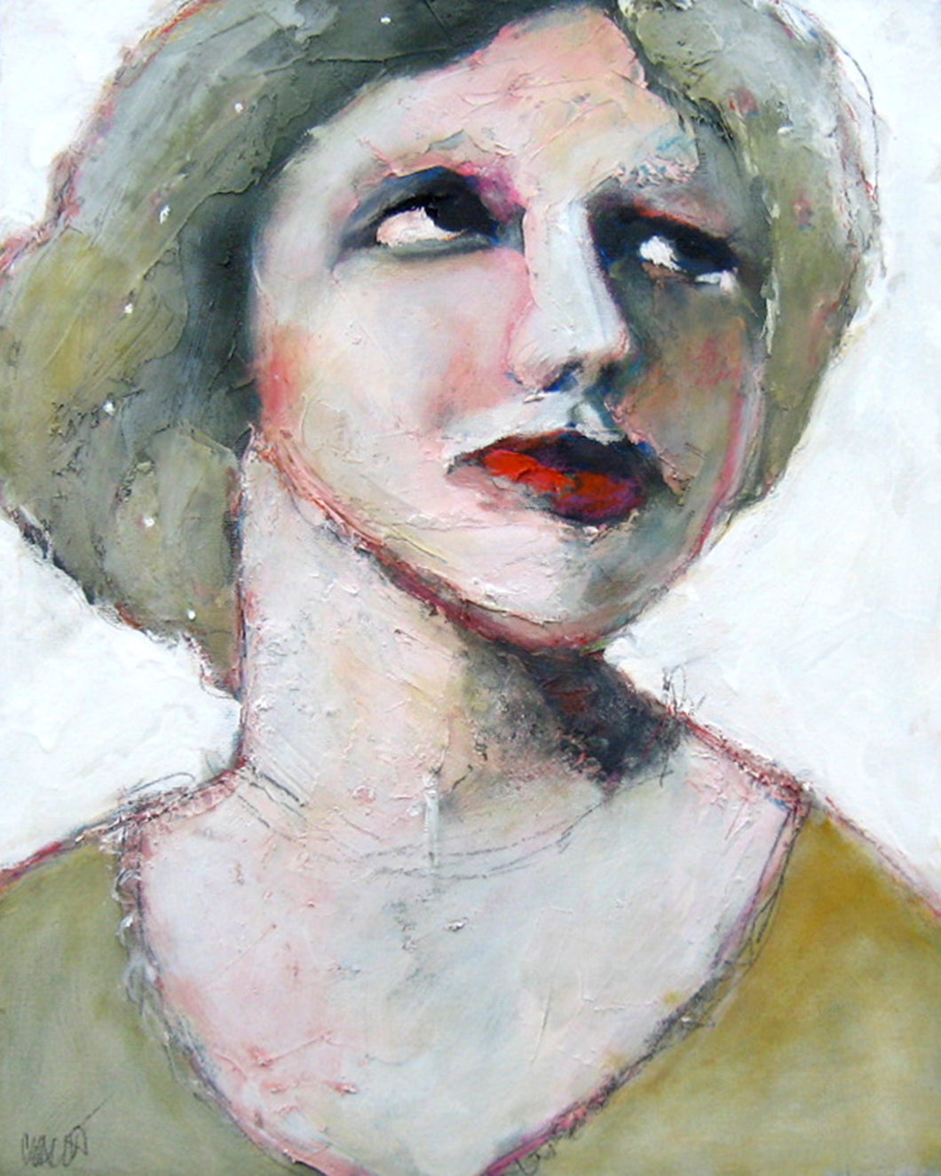 Oil portrait of a woman in a green hat.