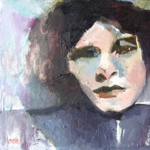 Oil portrait of a dark haired woman.