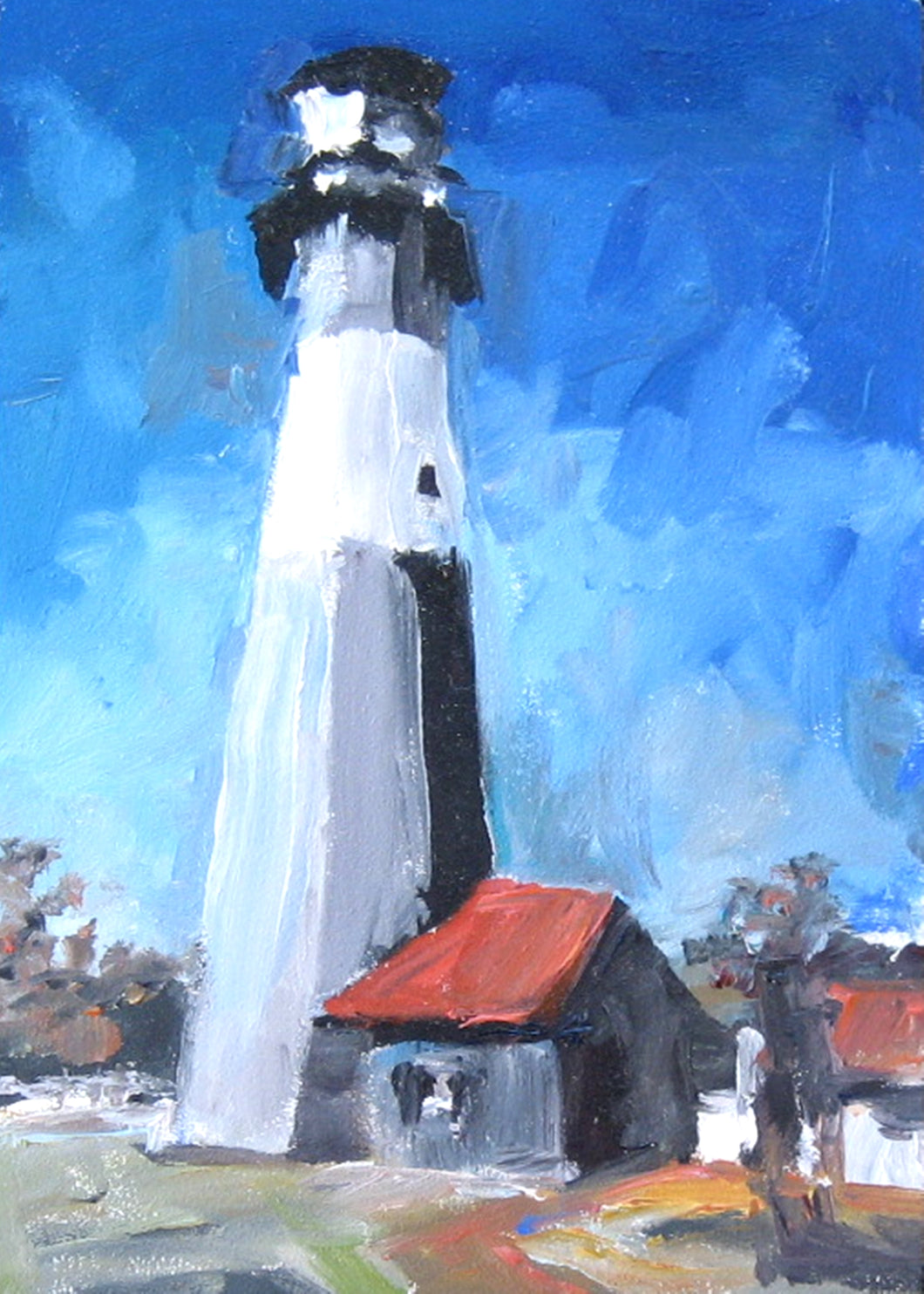 Oil painting of Tybee Island light house