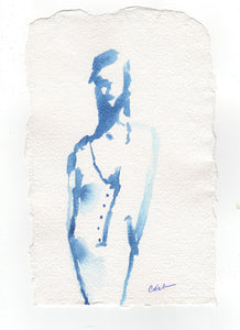 Dutch blue india ink on handmade paper - minimalist figure