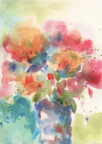 Abstract watercolor flowers on paper.