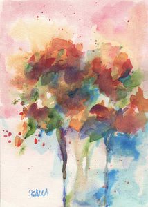 Watercolor still life flowers on paper.