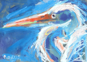 White heron in blue and white on paper.