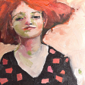 Oil painting portrait of a redhead in a black dress.