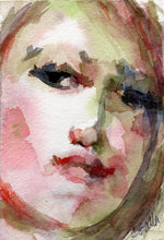Load image into Gallery viewer, Pink and green watercolor portrait