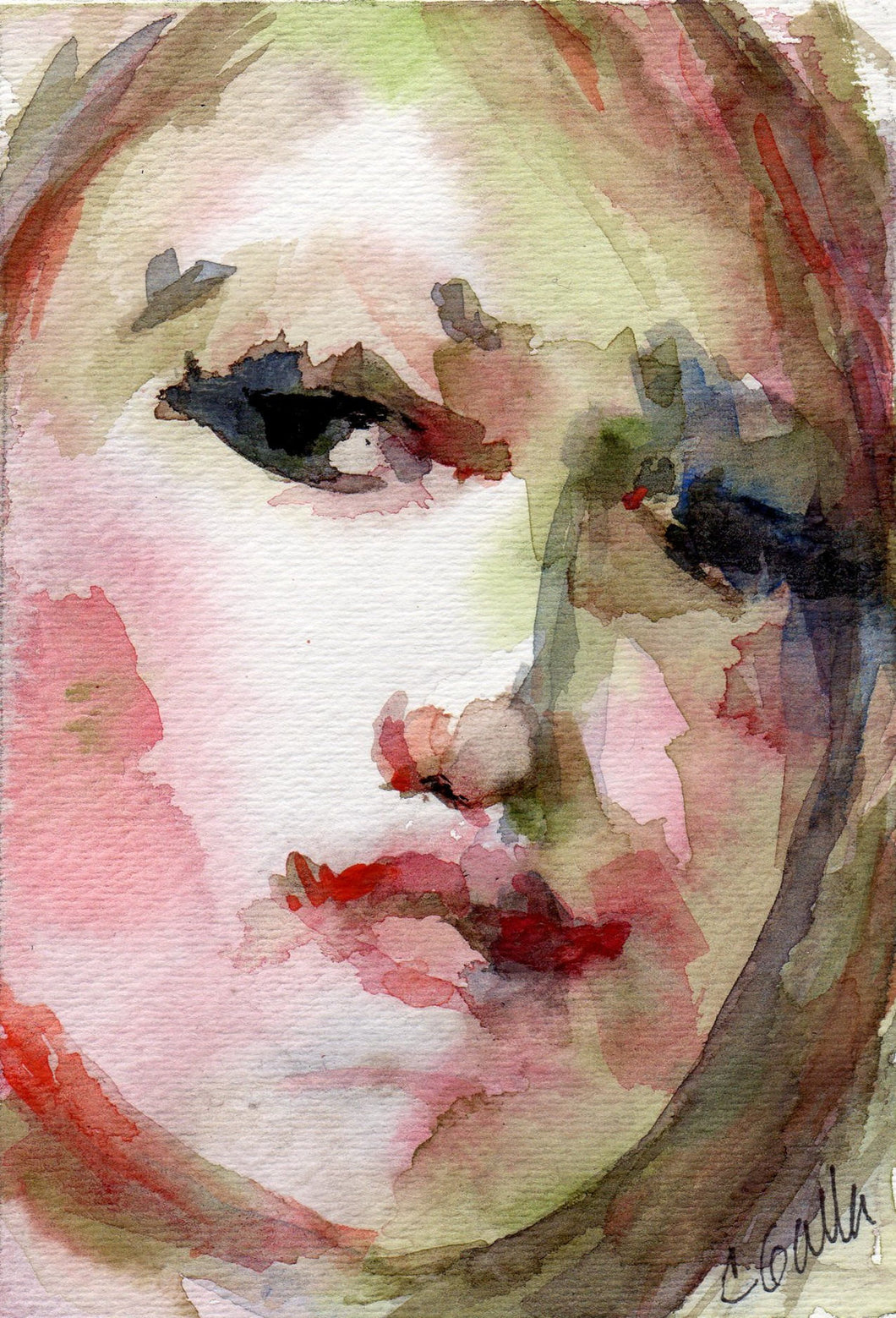 Pink and green watercolor portrait